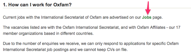 OxFam FAQ about jobs