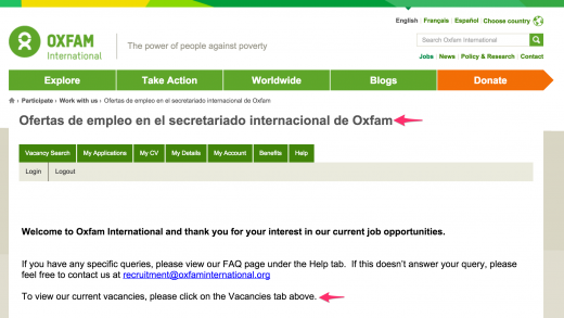 Oxfam jobs - top level