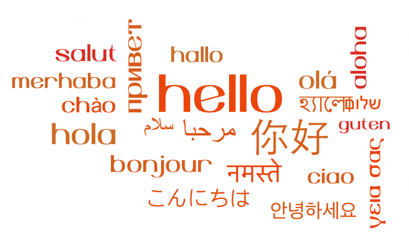 multi-lingual wordcloud hello