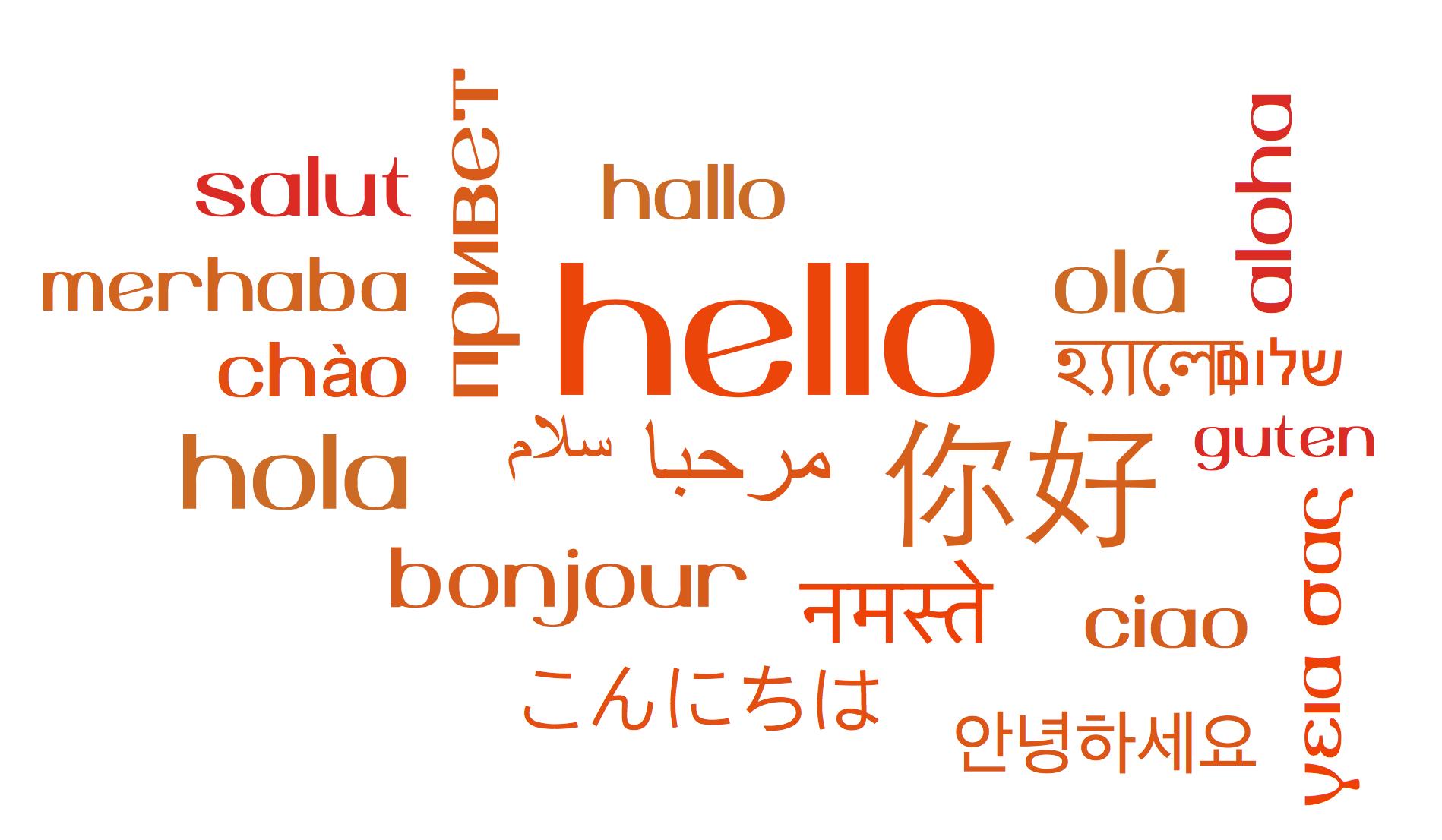 multi-lingual wordcloud hello
