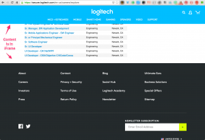 Logitech Jobs are in an iFrame