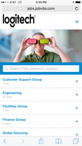 mobile view of jobs site